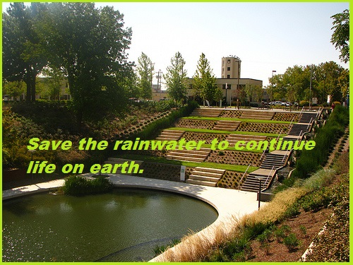 Save the rainwater to continue life on earth.
